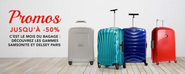 Parcourez toutes les promos du moment sur les bagages Samsonite, Delsey, Little Marcel, American Tourister et + encore